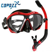 Copozz Brand Professional Scuba Diving Mask Snorkels Mask Equipment Goggles Glasses Diving Swimming Easy Breath Tube Set $51.99