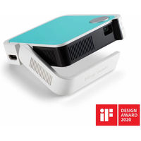 M1 mini is a pocket-sized projector that delivers convenient audiovisual entertainment anywhere. With the light weight, ultra-mini size and swappable coloured top, it serves as a personal pocket cinema for your everyday life