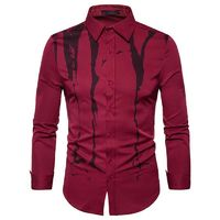 Ink Printing Men Shirts Casual Long Sleeve Slim Fit Shirt $22.99