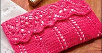 "Free Knitting Pattern for One Skein Lovely Lace Clutch - Lined lace clutch purse with flap takes just 156 yards �€"" one skein �€"" of fingering weight yarn. Size 7 3/4�€� x 4 3/4�€�. Designed by Lois Young, this pattern is..."