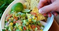 This Avocado Corn Salsa is the perfect healthy dip for all occasions! This yummy dip can be made in 5 minutes or less and is sure to be a crowd pleaser!