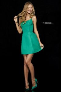 Emerald Sherri Hill Taffeta Scoop Neckline Short Dress 52154
