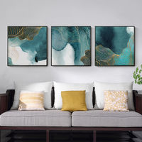 Set of 3 wall art Gold line painting navy sea paintings on canvas Framed wall art Original wall Pictures 3 pieces wall art $163.53