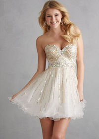 Cheap Ivory Crystal Sequined Strapless Tulle Short Prom Dress