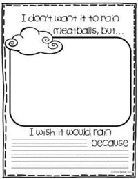 Here's a set of wacky weather printables for use with the book CLOUDY WITH A CHANCE OF MEATBALLS by Judi Barrett.