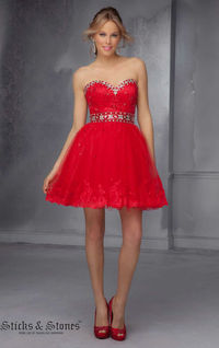 Mori Lee 9278 Red Strapless Mini Homecoming Dress by Sticks and Stones