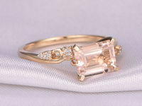 7X9MM EMERALD CUT MORGANITE AND DIAMOND ENGAGEMENT RING 14K YELLOW GOLD UNIQUE SHANK BAND