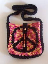 peace square shoulder bag crocheted