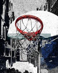 This is a colorful modern basketball art print. The basketball artwork comes in different sizes and is a photo print. #basketball #basketballart #sportsart #urbanart #streetart #sports #wallart #mancave