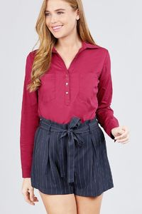Womens Casual Fall Winter Fashion 3/4 Roll Up Sleeve Front Two Pocket W/button Detail Stretch Shirt $26.00