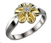 Leaves Engagement Ring 2 Tone Flower Leaves Ring Promise Ring Unique Engagement Ring Floral ring Birthday Gift For Her in 18K Gold $570.35