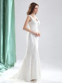 Sheath Column V Neck Court Train Lace Wedding Dress H4b12267lbld for 196.25 �'� # landybridal
