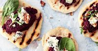 Homemade Flatbreads with Beet Pesto, Blue Cheese, and Pine Nuts