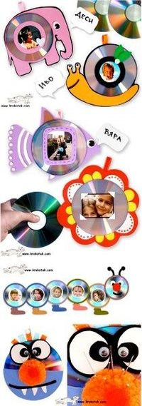 "Kids' Photo Frames �€"" FROM OLD CDs good ideas for any of those parent gifts we are supposed to get the kids to make"