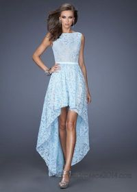 Powder Blue High Neck Lace High Low Prom Dress
