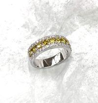Yellow diamonds cushion cut and round white pave diamond band < #jewelry #oneofkind #specialorder #customize #honest #integrity #diamond #gold #rings #weddingband #anniversary #finejewelry #salknight