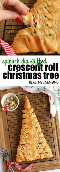 This Spinach Dip Stuffed Crescent Roll Christmas Tree is s fun way to serve up your favorite cheesy spinach dip round the holidays! via
