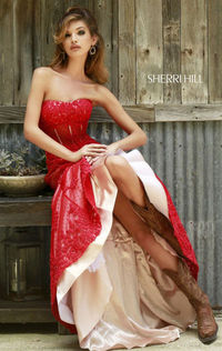 2015 Fashion Strapless Beaded Gownby Sherri Hill 11243