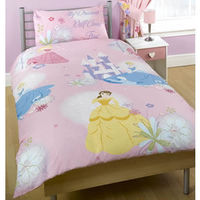 Disney Princess Bedding - Dreams Come True Lovely pink repeat pattern duvet cover and pillowcase set featuring Cinderella Belle and Sleeping Beauty. Material: 50% cotton 50% polyester. Size: Duvet cover 140 x 200cm pillowcase 48 x 74cm. http://www...
