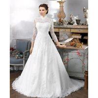 Elegant A-line High Neck 3/4 Length Sleeve Buttons Lace Sweep/Brush Train Tulle Wedding Dresses - Dressesular.com
