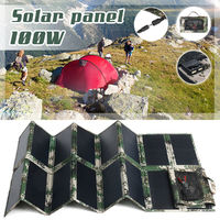 100W Portable Foldable Solar Panel Power Battery Charger 2 USB & 1x DC5521 Port with Clip