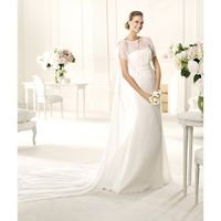 Elegant A-line Bateau Beading Sequins Sweep/Brush Train Chiffon Wedding Dresses - Dressesular.com