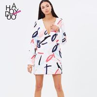 Fall 2017 women new style fashion sexy deep v-dye printing long sleeve slim dress - Bonny YZOZO Boutique Store