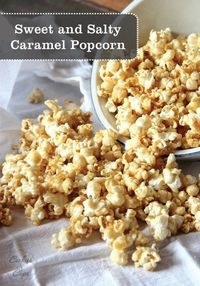 This Easy Salted Caramel Popcorn Recipe is great for snacking! Make a big bowl to share with the whole family during movie night!