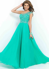 Caribbean Green Fitted Illusion One Shoulder Beaded Chiffon Evening Gown