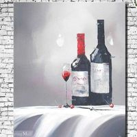 Hand Painted Red Wine Still Life Oil Painting On Canvas