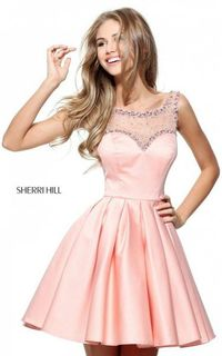 SHORT BEADED SATIN PINK SHERRI HILL 50962 HOMECOMING DRESS SALE