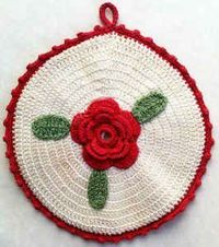 "Round Rose Potholder �€"" Free Crochet Pattern"