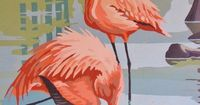 Sale Ends Monday Original Pink Flamingo Painting by bequirksy, $100.00