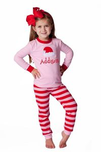 Southern Tots Pink and Red Stripe Santa Hat Loungewear only $19 at www.southerntots.com!