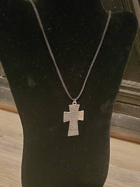 Large Silver Cross Pendant Necklace with Serenity Prayer $15.00