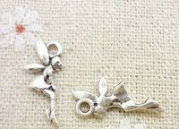 Pack of 50 Silver Coloured Fairy Charms. Fairytale Flying Angel Pendants. 8mm x 14mm £8.99