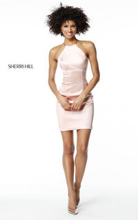 SHERRI HILL 51421 BLUSH SHORT SATIN SENIOR HOMECOMING DRESS SALE