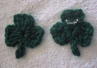crochet shamrock pin