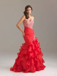 Long Red Sequin Top Asymmetrically Ruched Ruffled Mermaid Dress