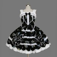Black and White Square Collar Sleevless Floral Pattern Bowtie Lolita Sundress