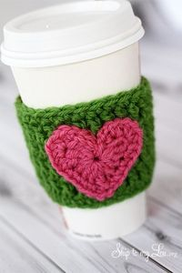 crochet hearts, crochet coffee cozy and coffee cup cozy.