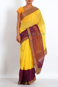 online shopping yellow color meghalaya sico sarees are available at www.unnatisilks.com