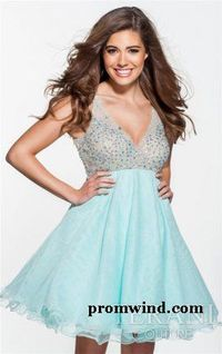 Fabric:Tiffany Blue This short dress features a sleeveless bodice with a flattering v neckline and a v shape back