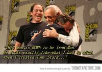 """""""Stan Lee is the sweetest person ever�€�...I don't care if I pinned this already, I'm pinning it again. Iron Man in hands down my favorite Avenger, RDJ is amazing beyond belief, and thispostmakes me so happy every time."""""""