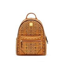 MCM Small Diamond Visetos Backpack In Brown