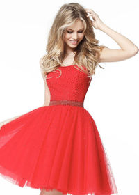 Princess A-line Strapless Beaded Tulle Red Senior Homecoming Dress