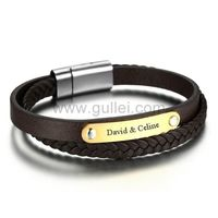 Gullei.com Customized Leather Wrap Mens Love Bracelet Brown