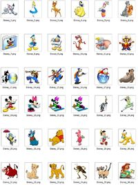 43 great Disney Icons (in PNG format) of beloved Disney characters including Mickey Mouse, Minnie Mouse, Donald Duck, Alice, Snow White, Pluto and many more. Create customized Disney avatars for your Twitter, Facebook, Pinterest and other social m...