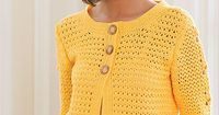 Wear Everywhere Sweater Crochet Pattern Download from e-PatternsCentral.com -- The body and sleeves of this sunny cardigan feature a pattern of dainty V-stitches, with a lace panel of bobbles that add an extra pop of contrast on the outer sleeves.