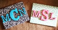 scrapbook paper to cover the canvas then wooden letters for the monogram. perf.